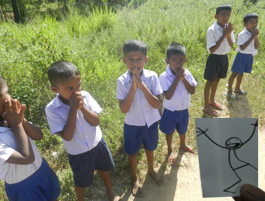 A traditional welcome to UNIC by school children in a remote village in South-East of Sri Lanka