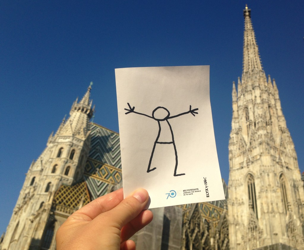 Elyx is impressed by the beautiful Stephansdom (St. Stephen's Cathedral).