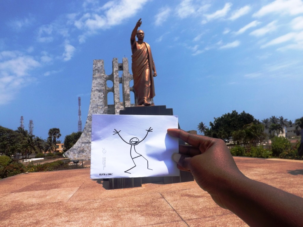 Elyx is so excited to see the statue of Dr. Kwame Nkrumah!